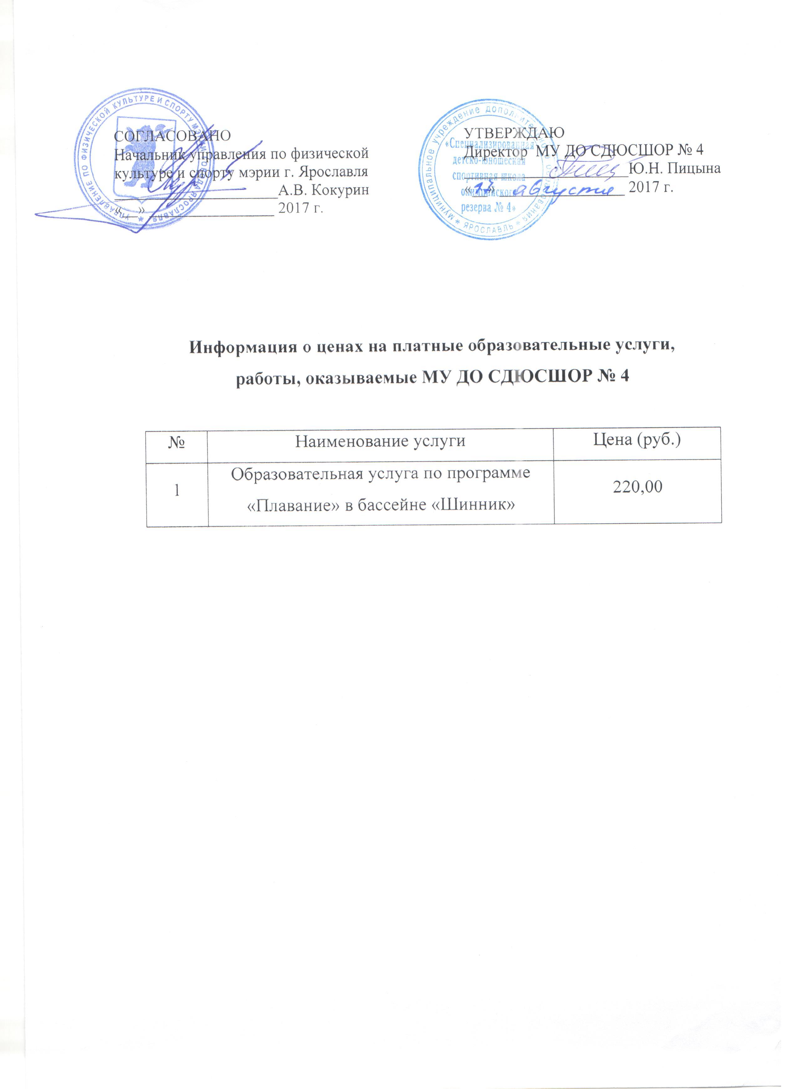 Инф. о платных услугах Шинник
